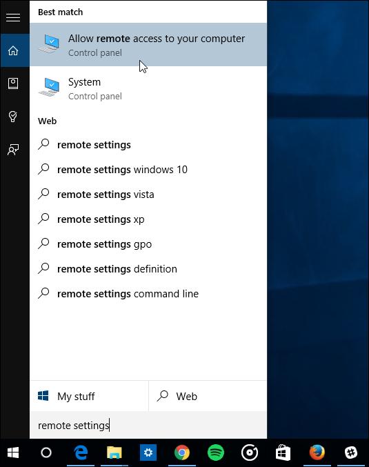 chọn Allow remote access to your computer từ danh sách kết quả tìm kiếm